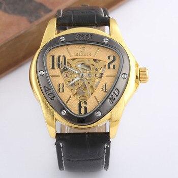 GOER ساعات رجالي حزام من الجلد التلقائي الميكانيكية هيكل عظمي ساعة معصم الرياضة مثلث الساعات الرجال Relogio Masculino