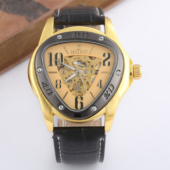 цена на GOER Watches Mens Leather Strap Automatic Mechanical Skeleton Wrist Watch Sports Triangle Watches Men Relogio Masculino