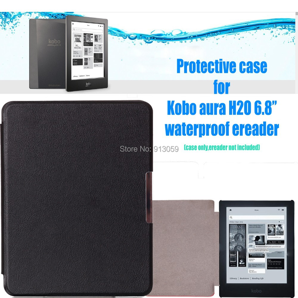 for kobo aura h2o 2014 sleep cover protective case for 6.8''  ereader(not fit kobo aura hd / kobo aura 6'')+film+track женский пуховик o 8 o d827 2014