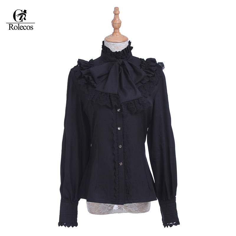 Rolecos Brand Retro Lace Women Lolita Blouse Chiffon Black  Long Sleeve Shirt   Sweet Ruffle Lolita Blouse for Woman