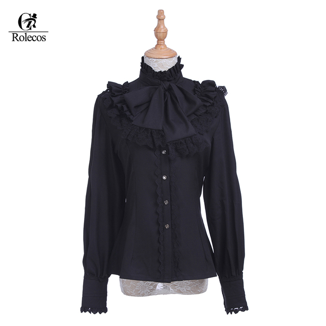 ecf83c4f1b9 Rolecos Brand Retro Lace Women Lolita Blouse Chiffon Black Long Sleeve  Shirt Sweet Ruffle Lolita Blouse