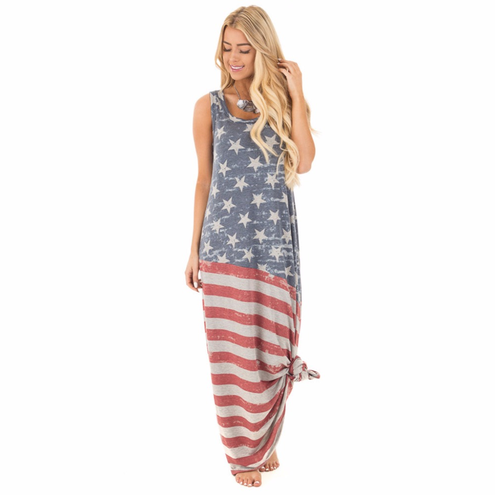American Flag Print Women Summer Maxi Dress 2017 Independence Day O-Neck Sleeveless Straight Casual Long Bandage Dress Plus Size