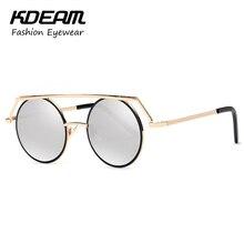 Kdeam Tocado Vinatge Gafas de Sol Redondas Para Mujeres Hombres Steampunk Goggles gafas de sol hombre Gafas Retro Con Caja de la Marca KD545