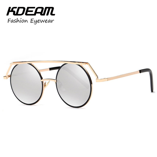 Kdeam Headdress Vinatge Sunglasses Round For Women Men Steampunk Goggles gafas de sol hombre Retro Glasses With Brand Box KD545