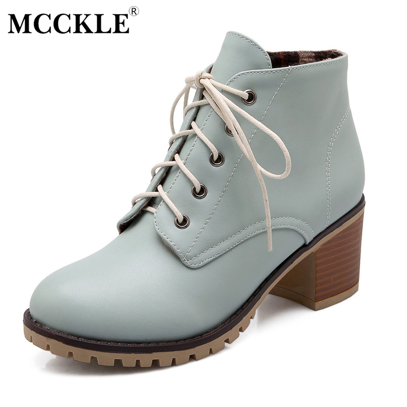 цены MCCKLE Woman Fashion High Quality Leather Ankle Boots Women Lace Up Thick Heel Casual Style Autumn Comfortable Plus Size Shoes