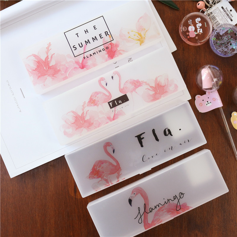 BEFRIEND Pencil case flamingo school pencil cases kawaii for gils cute pencil bag plastic pencil box school supplies pencilcase kawaii cartoon girls folding multifunction school supplies pencil case cute stationery pen bag pouch box pencilcase for gir b157
