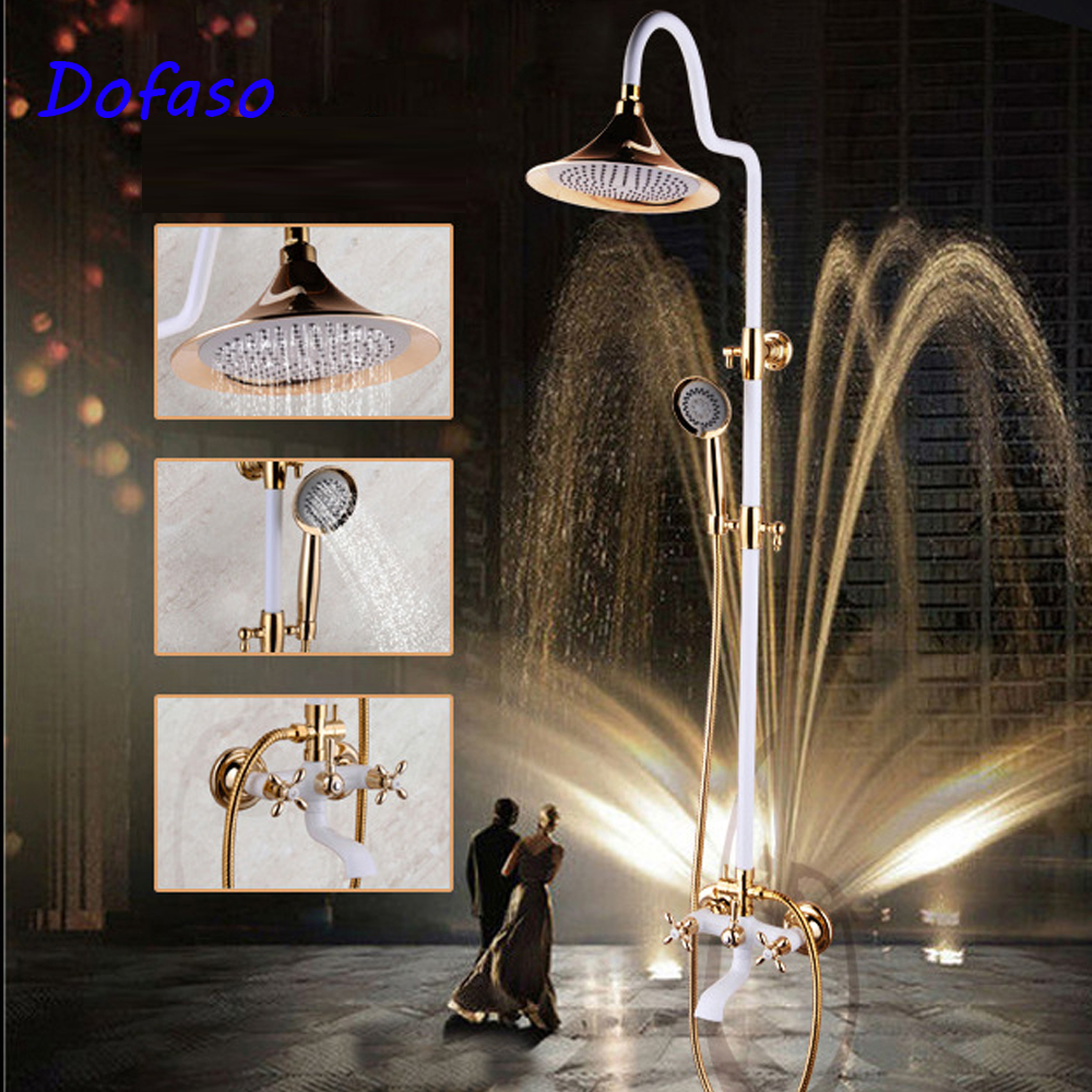 Dofaso Gold Brass Bathroom Shower Faucet Rain Head 8 Retro Wall Mounted Shower Set Brass Bathroom Accessories Set