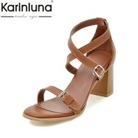 KarinLuna Plus Size 34 43 Top Quality Fashion High Heels Summer Shoes Sandals Leisure Buckles Gladiator