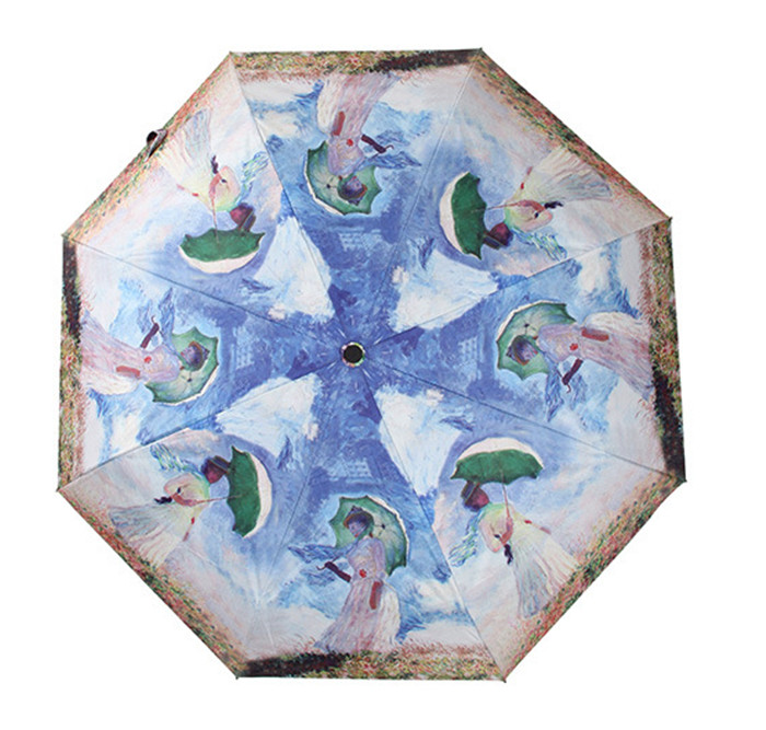 Abstract Watercolor Colorful Modern Art Travel Umbrella Lightweight Compact Parasol Canopy Ergonomic With UV Protection For Sun Rain Auto Open And Close