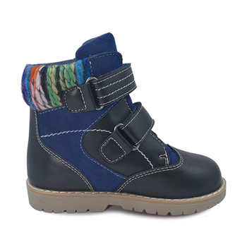 Ortoluckland New Children Winter Fur Boots Shoes Boys Flat Black Boots Stiff Back Heel Leather Orthopedic Shoes For Kids