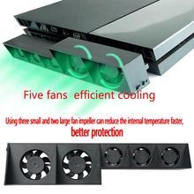 EastVita для PS4 консоль кулер, охлаждающий вентилятор для PS4 USB внешний 5-вентилятор супер Turbo Контроль температуры для Playstation 4 консоли