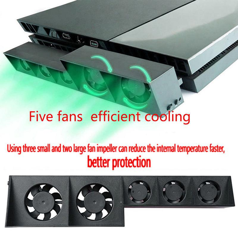 HobbyLane Cooling Fan For PS4 Console Cooler For PS4 USB External 5-Fan Super Turbo Temperature Control For Playstation 4 D25
