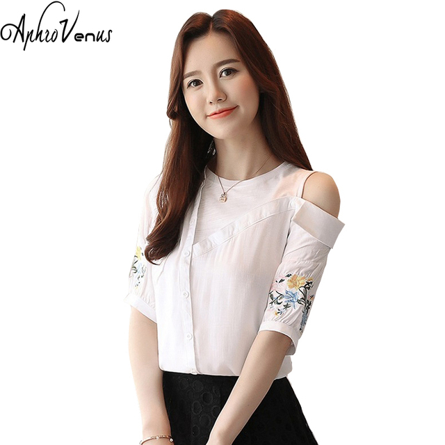 02085fc9a3526 Women Tops And Blouse Camisa Feminina Sexy Off Shoulder Top Short Sleeve  Tide Female Scheming Western Style Design blusas mujer