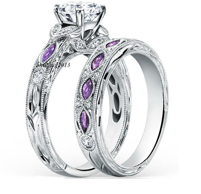 White Gold Filled Round Zircon Eye Purple Zircon Women S Wedding