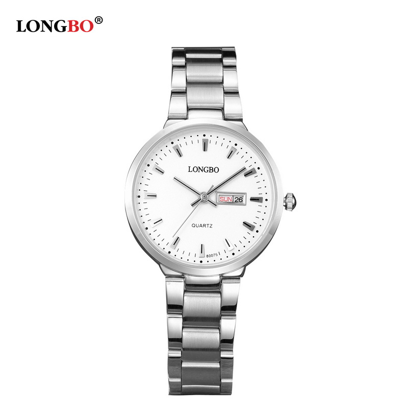 82832cee20c Business Men s Quartz Watch with Calendar LONGBO Brand Fashion Stainless  Steel Band Waterproof Wrist Watches Women montre homme-in Women s Watches  from ...