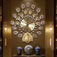 Creative Fashion Metal Auspicious Peacock Big Wall Clocks Handmade Needle Digital Quartz Mute Watch Wall Clock Decoration Gifts