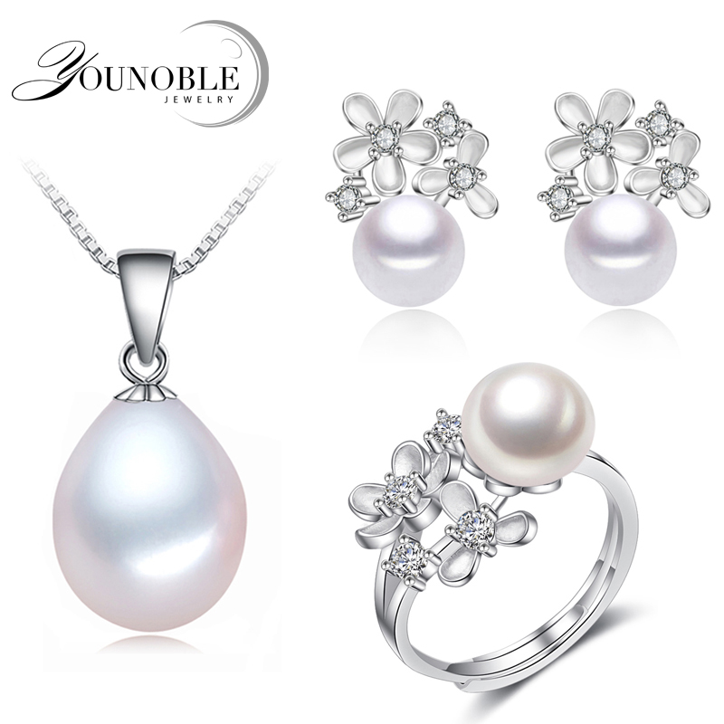 Real freshwater pearl jewelry sets women,flower natural pearl sets 925 silver jewelry girl birthday earring ring gift white [meibapj] natural freshwater pearl jewelry sets real pearl necklace earrings ring jewelry sets for women flower jewelry set