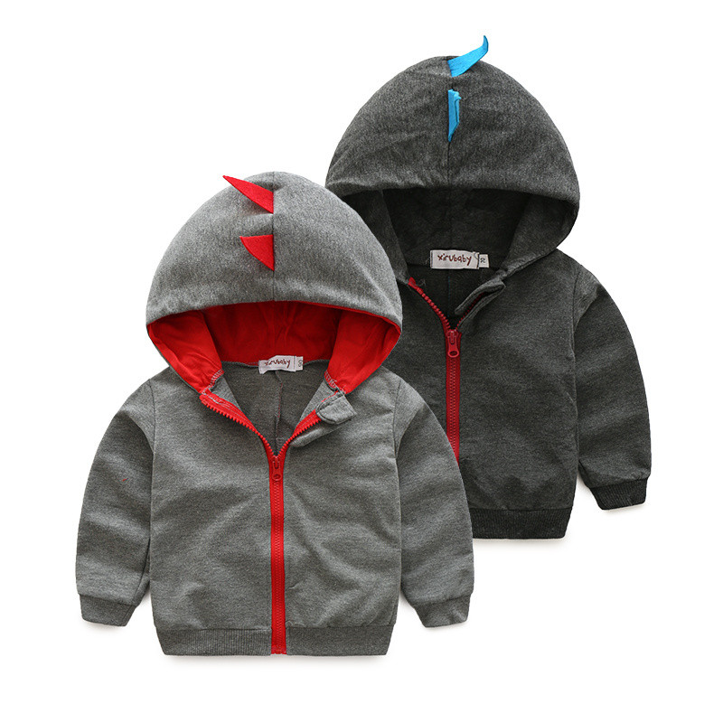 2016 high quality Fashion Baby Coats Outwear baby kid clothing hooded cartoon dinosaur Sweatshirt free shipping