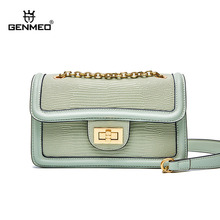 GENMEO Brand New Arrival Lizards Grain Genuine Leather Shoulder Bag with Chain Strap and Metal Lock Female Cow Bolsa