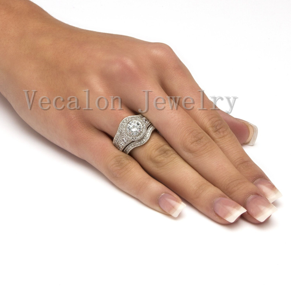 Vecalon fashion vintage engagement wedding band ring set for Wedding band under engagement ring