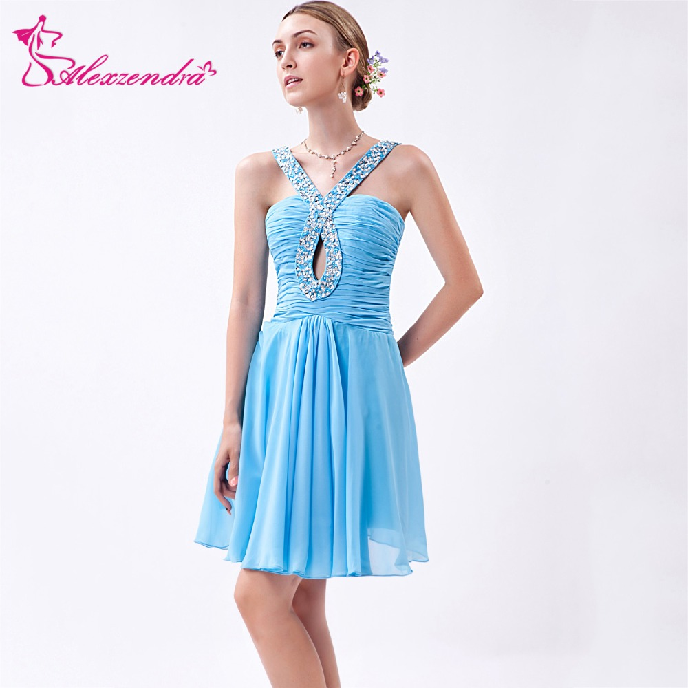 mejor servicio lo mas barato selección premium Alexzendra cielo azul gasa A línea Mini vestidos cortos de ...