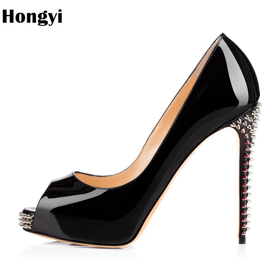 Здесь продается  Hongyi  Women Pumps High Heels Sexy 2018 Elegant Pumps Platform Party Wedding Shoes Slip On Shoes Woman Prom Rivet Zapatos Mujer  Обувь