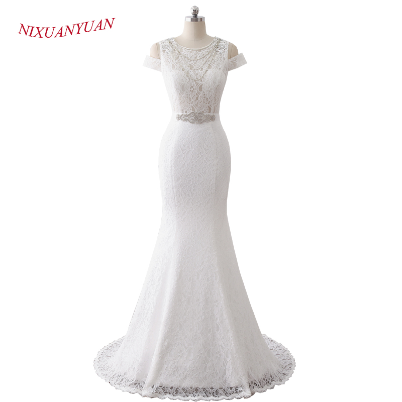 NIXUANYUAN 2018 New Design Beading Illusion Sexy Wedding Dress 2017 Mermaid Bridal Gown Button Lace Vestido De Noiva With Sashes