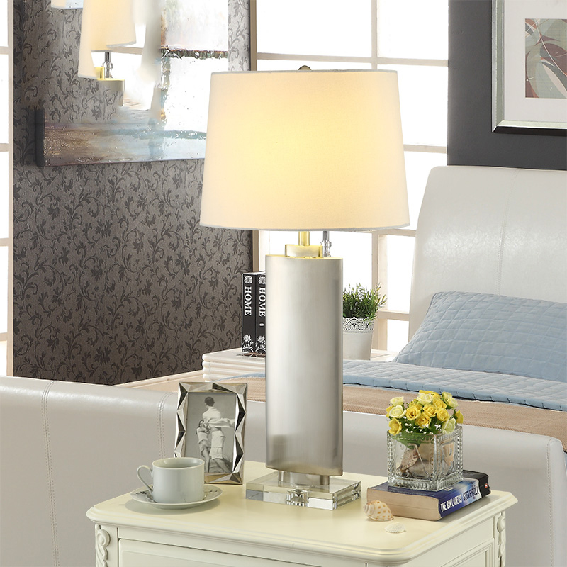 Modern White Fabric Lampshade Living Room Decoration Abajur Stainless Steel Body Crystal Base Table lamp For Bedroom