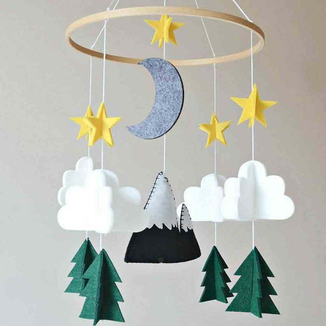 Us 4 37 Off Nordic Children Tent Decoration Baby Crib Mobile Hanging Pendant Clouds Nursery Ceiling Decor T20 In Wind Chimes