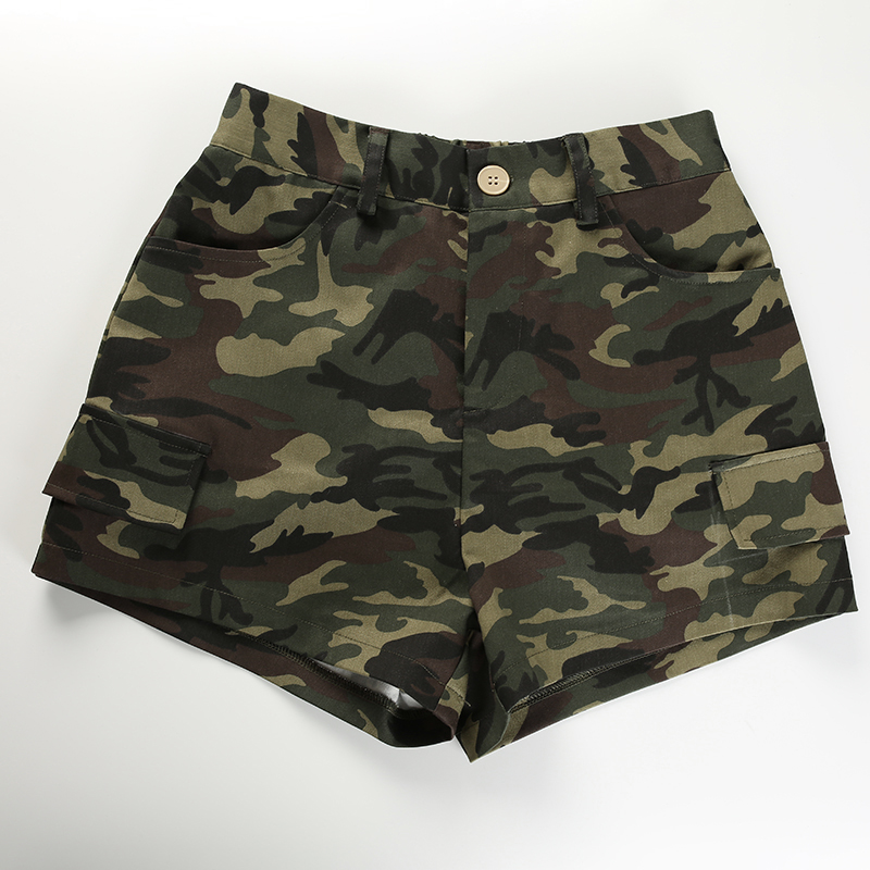 9Sweetown Elastic High Waisted Camo Shorts For Women Army Camouflage Cotton Womens Shorts Summer Short Femme Ete 2018 Streetwear