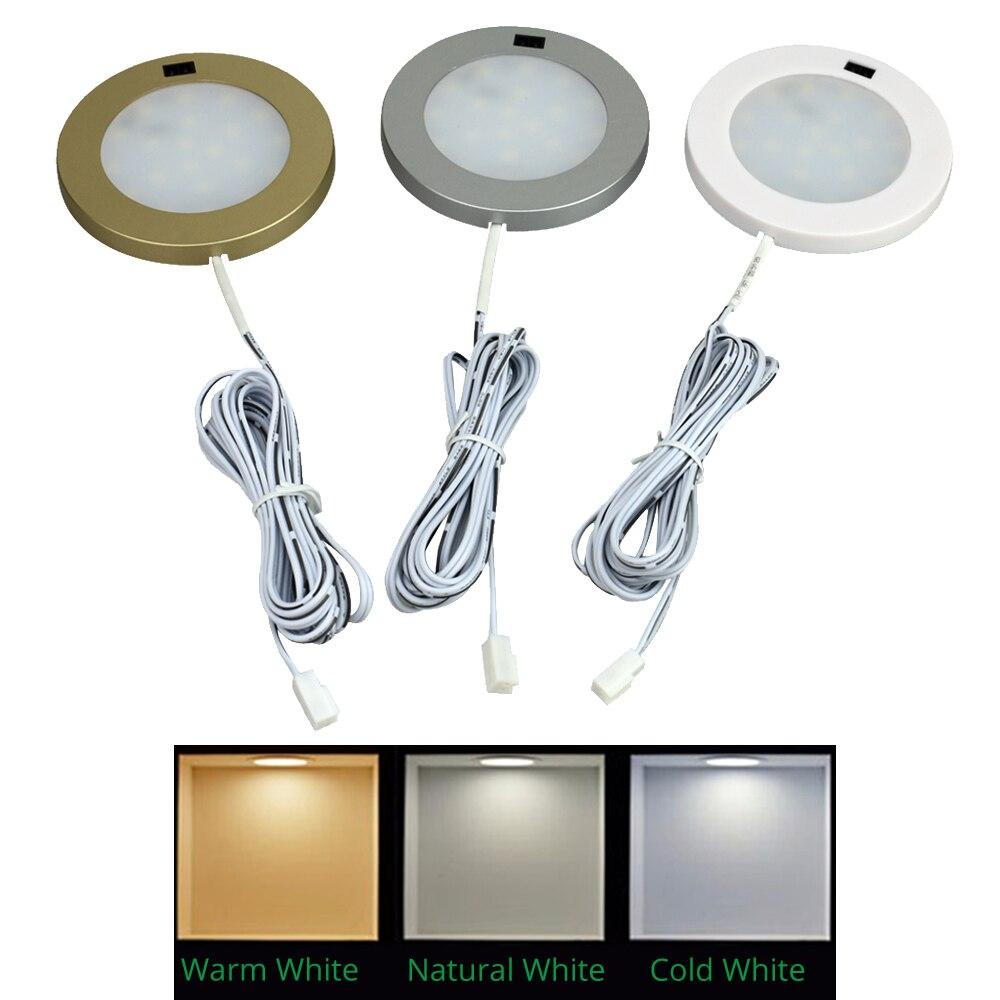 LED Under Cabinet Lights Motion Sensor Round Kitchen Cupboard Lighting Exhibition Bookshelf Furniture Night Light Counter Lamps