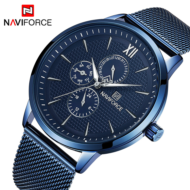 NAVIFORCE Watch Men Business Quartz Waterproof Men's Watches Blue Slim Steel Mesh Band Week Date Wristwatches Relojes 24 Hour mike davis knight s microsoft business intelligence 24 hour trainer