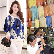 Korean women's sweater custom processing cashmere hand-painted ladies knitted pullovers pattern processing factory