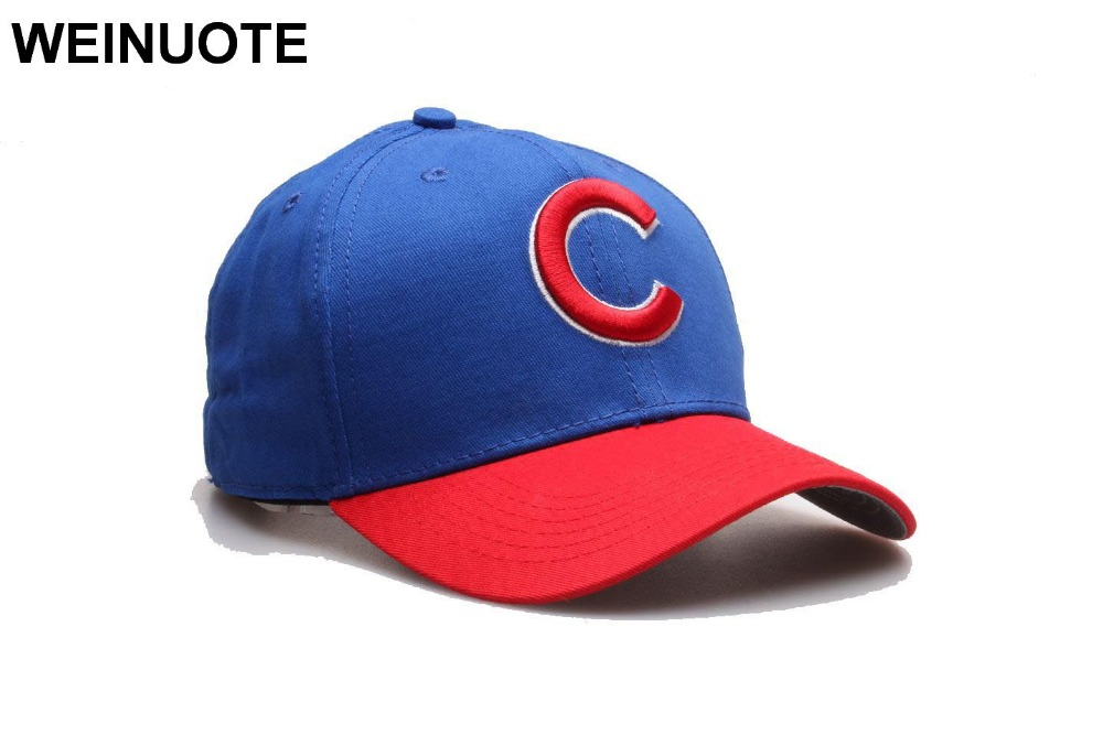 Chicago Cubs Adjustable Strapback Blue Hats Sport classic Fashion Red Brim Baseball  Hat Caps 7041655d32a