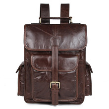 Free Ship 100% Real Leather Genuine Schoolbag Hiking Backpacks Bag  # 7283C