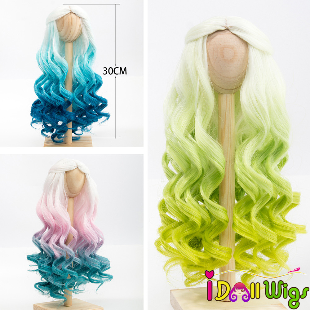 1/3 1/4 BJD/SD Doll Wig Hair Heat Resistant Fiber Long Curly White Green Blue Ombre Color Wigs For BJD/SD Dolls
