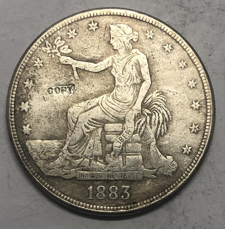1883-P Estados unidos Comércio Dólar Copiar Moeda de prata banhado
