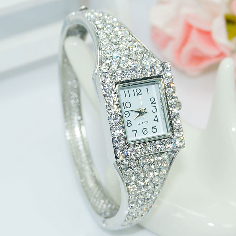 Hot Sale Famous Brand Bling Watch Women Luxury Crystal Watch Square Silver Shinning Full Diomand Rhinestone Bangle Bracelet 2016 new hot sale famous bs brand full crytal women silver watch lady luxury diamond dress watch rhinestone bangle bracelet