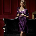 XIFENNI Brand Satin Silk Bathrobes Noble Purple Two-Piece Robe Sets Embroidery Lace Sleepwear Faux Silk Nightgowns Female 8208