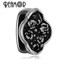 REAMOR 316l Stainless Steel Antique Flower Rose European Large Square Hole Spacer Beads For Jewelry Making Christmas Gift
