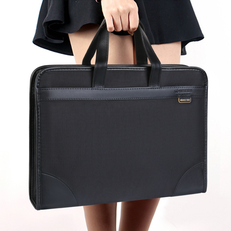 Briefcase Tote-Bag Canvas Business Oxford Office Information-Package Female Multi-Layer title=