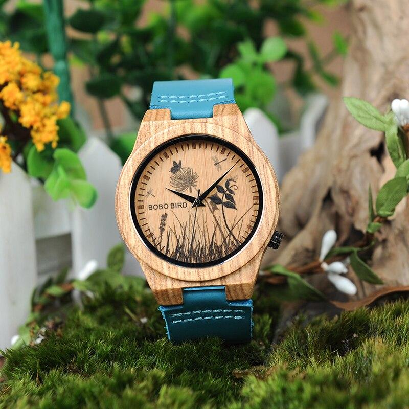 Image 3 - BOBO BIRD LP20 6 Landscape reloj mujer Watch Men Quartz Watch Zebra Wood Erkek kol saati  Blue Leather Strap Clockclock blueclock strapclock men -