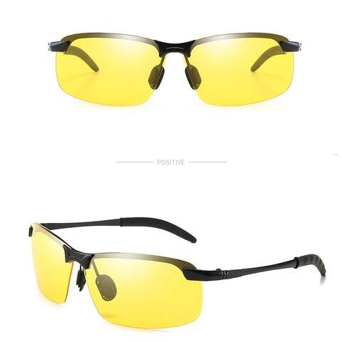 Rimless Polarized Sunglasses Men Driving Men Sunglasses Night Vision UV400 Goggles Alloy Photochromic Sunglasses Change Color Multan