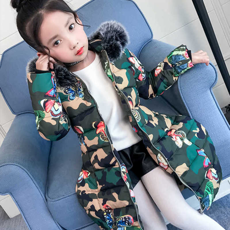 2018 Winter jackets for girls kids fashion Butterfly printed girls parka coats thick hooded fur warm children girls jackets
