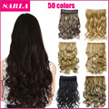 50 Colors!!! 130g 20inch 50cm Synthetic Clip In Hair Extensions Curly Wavy Heat Resistant Hairpiece Natural Hair Extension 888