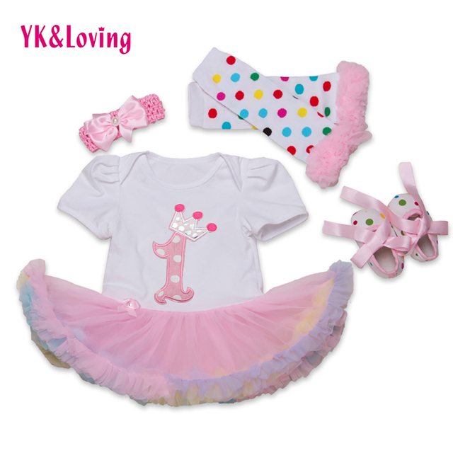 Infant Princess Dress with Lace Ruffle Short Sleeve baby Romper+Headband+Leg Warmers+Shoes 4pcs Birthday Costumes of Kids Yi