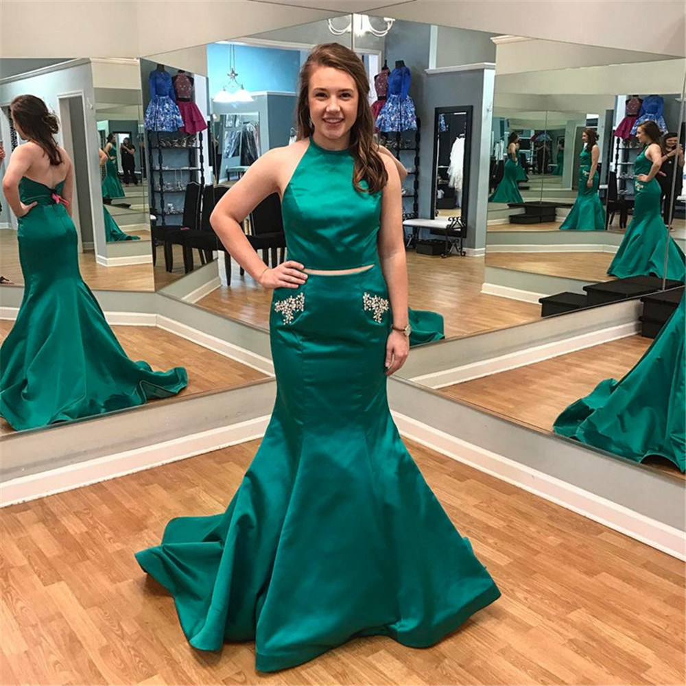 New Green Mermaid 2 Piece   Prom     Dresses   Halter Backless Crystals Pockets Long Formal Evening Gown 2019 New Wedding Party   Dress