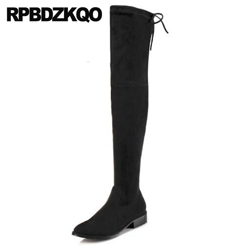 купить fall slip on big brand 2018 chunky autumn luxury thigh high black long over the knee shoes bow round toe suede slim women boots онлайн