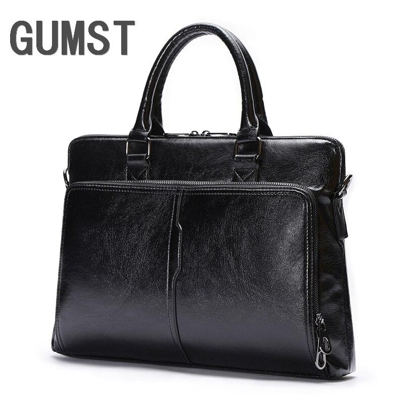 GUMST Men's Business Black Classic Bag Leather Briefcase Men's Tote Bags Fashion Good Quality Male Business Laptop Bag