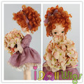 High quality synthetic short orange red deep curly 1/3 1/4 1/6 bjd doll wig